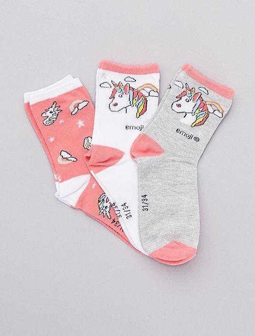 Lot de 3 paires de chaussettes 'Emoji'                             rose/gris/blanc