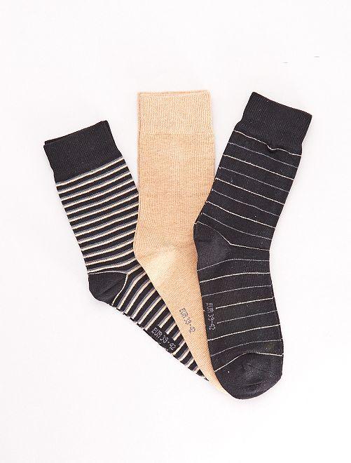 Lot de 3 paires de chaussettes fantaisie                                         noir/beige