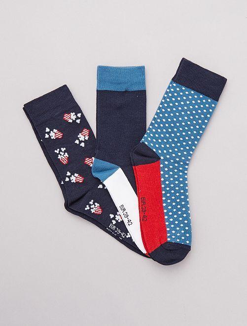 Lot de 3 paires de chaussettes fantaisies                                                     bleu