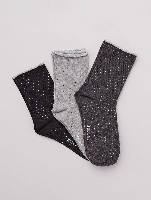 Lot de 3 paires de chaussettes fantaisies                                                                                         gris