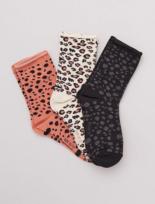 Lot de 3 paires de chaussettes fantaisies                                                                                         léopard