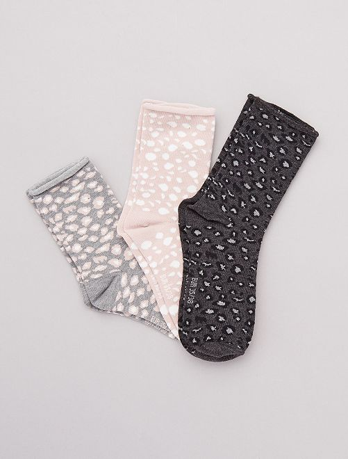 Lot de 3 paires de chaussettes fantaisies                                                                                         léopard rose/noir