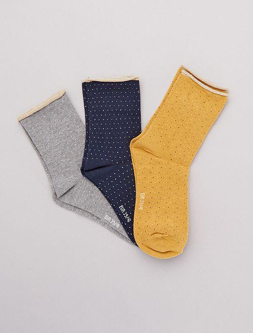 Lot de 3 paires de chaussettes fantaisies                                                                                         moutarde/gris/marine
