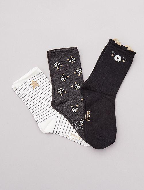 Lot de 3 paires de chaussettes fantaisies                                                     noir ours
