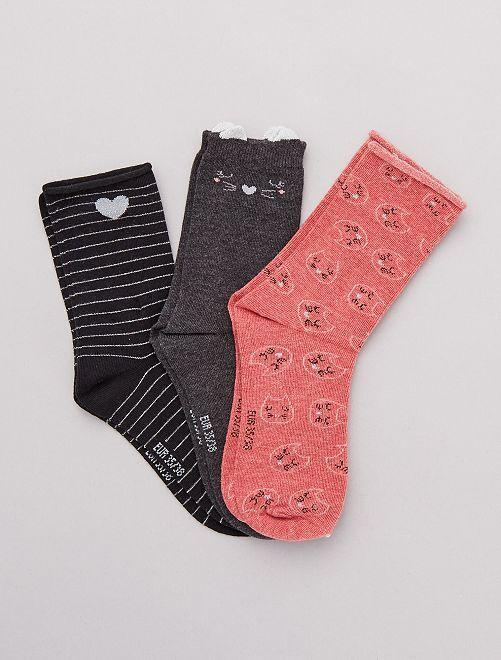 Lot de 3 paires de chaussettes fantaisies                                                                                         noir/rose chat