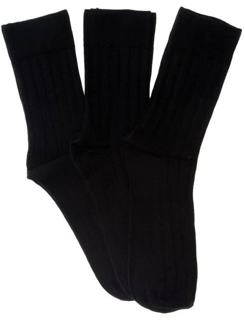 Lot de 3 paires de chaussettes fines côtes                                         noir