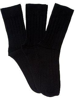 Chaussettes - Lot de 3 paires de chaussettes fines côtes - Kiabi