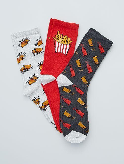 Lot de 3 paires de chaussettes 'food'                                         gris/rouge
