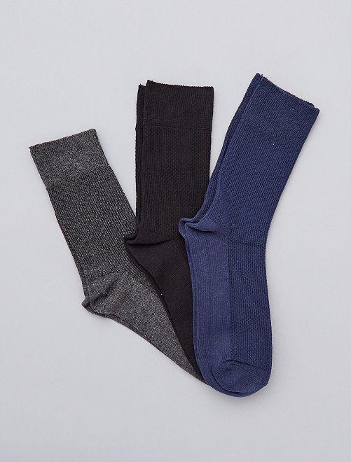 Lot de 3 paires de chaussettes                             gris/noir/bleu