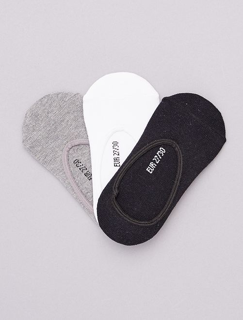 Lot de 3 paires de chaussettes invisibles                             blanc/gris/noir