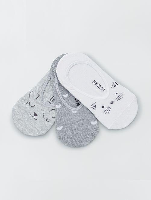 Lot de 3 paires de chaussettes invisibles                                         gris