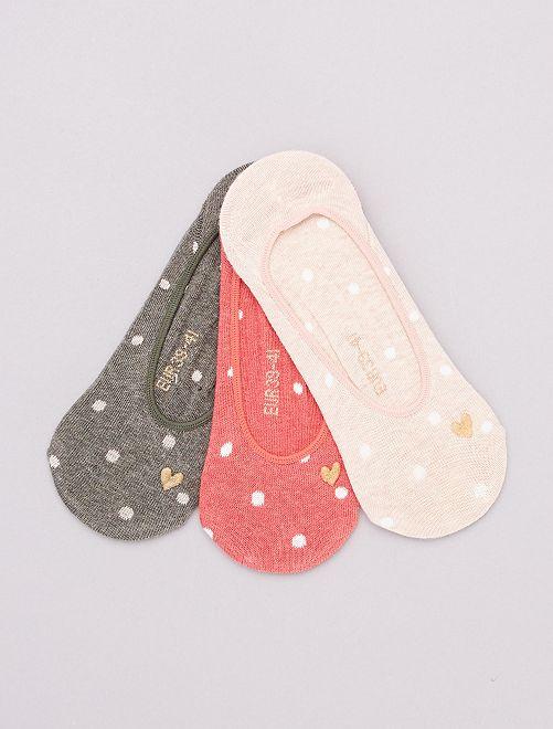Lot de 3 paires de chaussettes invisibles                                                                 KAKI