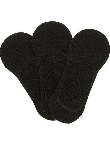 Lot de 3 paires de chaussettes invisibles unies                             noir Lingerie du s au xxl