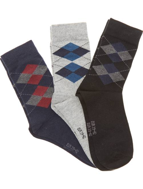 Lot de 3 paires de chaussettes jacquard                             bleu/noir/gris Grande taille homme