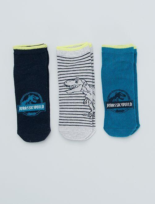 Lot de 3 paires de chaussettes 'Jurassic world'                             noir/bleu
