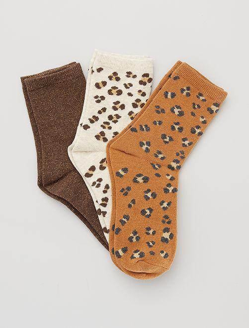 Lot de 3 paires de chaussettes 'léopard'                                                                                         camel léopard
