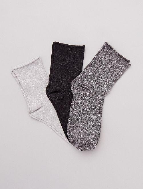 Lot de 3 paires de chaussettes lurex                                                     gris/noir