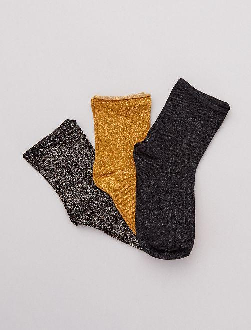 Lot de 3 paires de chaussettes lurex                                                     jaune/noir