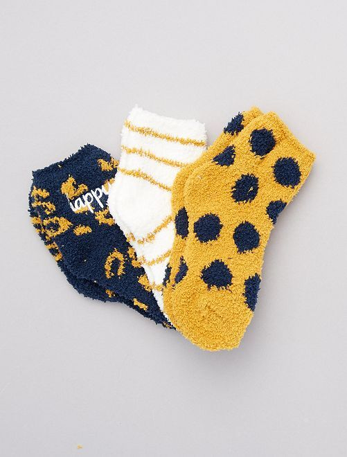 Lot de 3 paires de chaussettes maille doudou                                         jaune