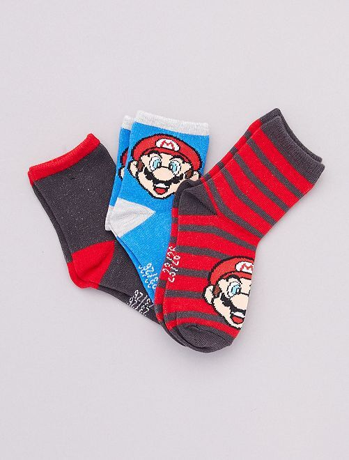 Lot de 3 paires de chaussettes 'Mario'                             rouge/bleu
