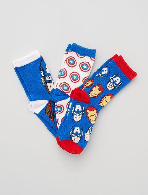 Lot de 3 paires de chaussettes 'Marvel'                                         bleu