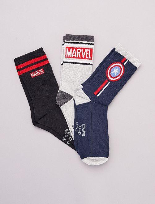Lot de 3 paires de chaussettes 'Marvel'                             gris marine