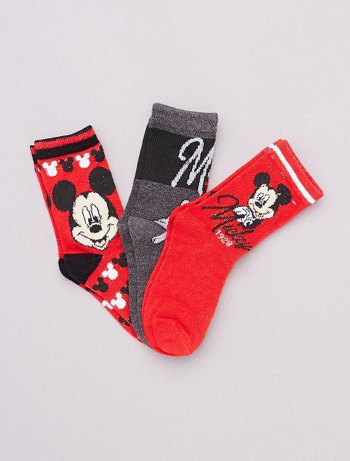 Lot de 3 paires de chaussettes 'Mickey Mouse'                     rouge