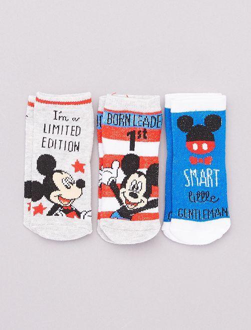 Lot de 3 paires de chaussettes 'Mickey'                                         rouge