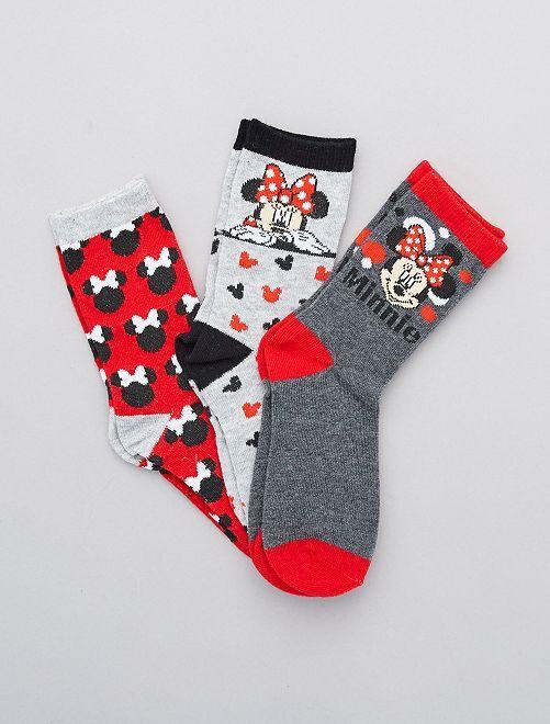 Lot de 3 paires de chaussettes 'Minnie' 'Disney'                                         gris