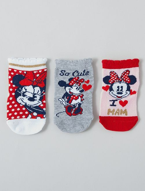 Lot de 3 paires de chaussettes 'Minnie' 'Disney'                     gris/rose