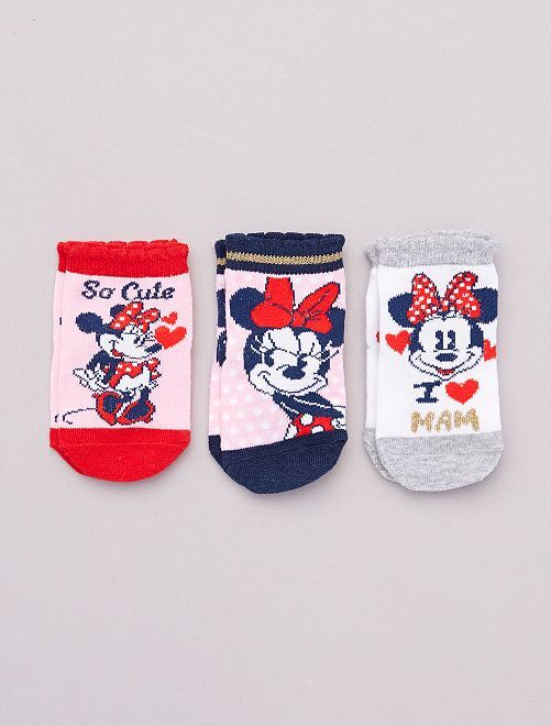 Lot de 3 paires de chaussettes 'Minnie' 'Disney'                                         rose