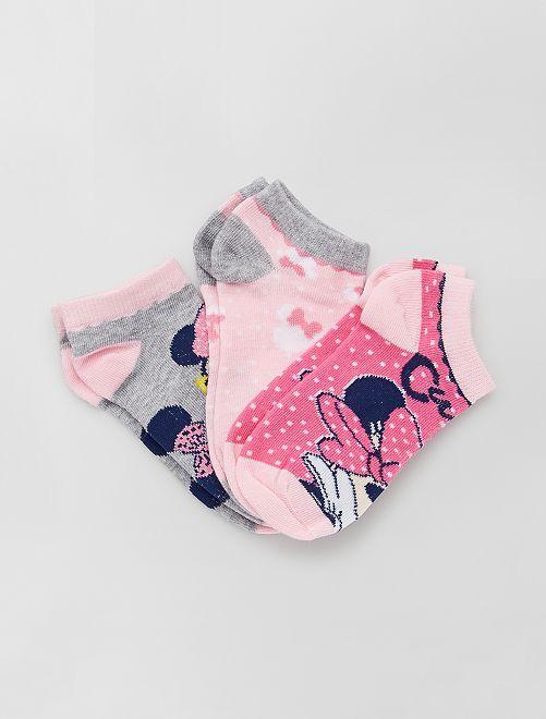 Lot de 3 paires de chaussettes 'Minnie' 'Disney'                                         rose