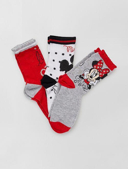 Lot de 3 paires de chaussettes 'Minnie' 'Disney'                                         ROUGE