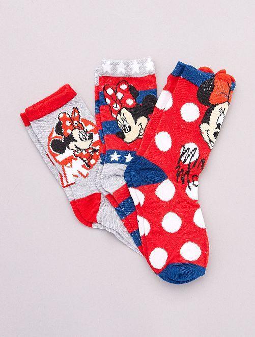 Lot de 3 paires de chaussettes 'Minnie Mouse' 'Dis                             gris rouge