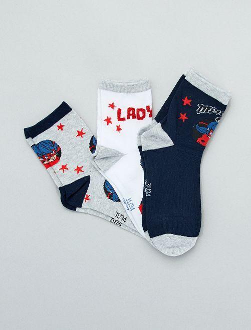 Lot de 3 paires de chaussettes 'Miraculous'                             bleu/blanc/gris