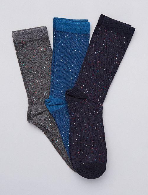 Lot de 3 paires de chaussettes mouchetées                                         bleu gris