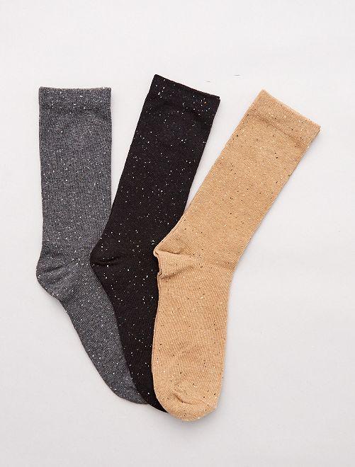 Lot de 3 paires de chaussettes mouchetées                                                     noir / gris / beige