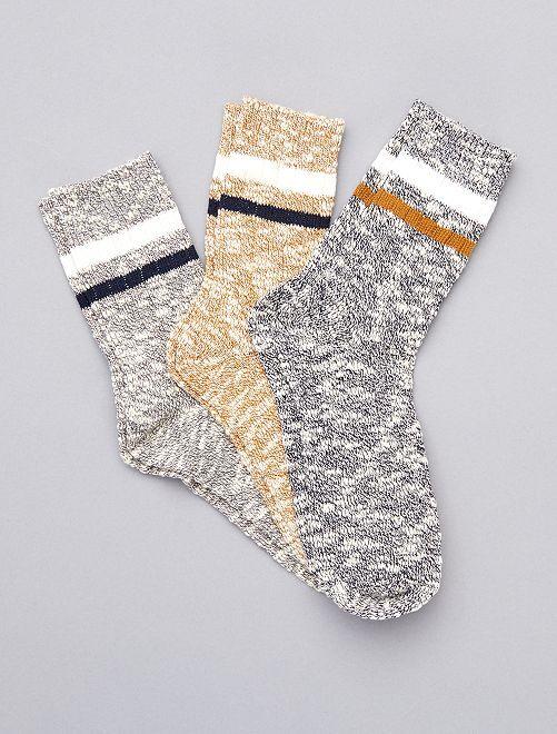 Lot de 3 paires de chaussettes                                         noir ocre gris