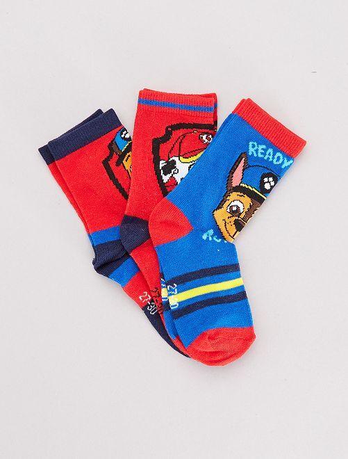 Lot de 3 paires de chaussettes 'Pat'Patrouille'                             rouge/bleu