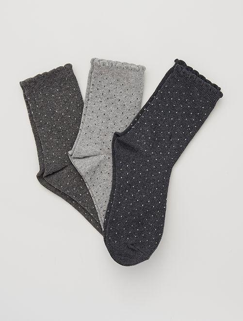 Lot de 3 paires de chaussettes plumetis                                                                                         gris pois