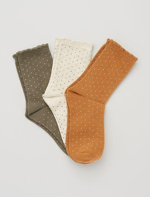 Lot de 3 paires de chaussettes plumetis                                                                                         kaki/moutarde/beige