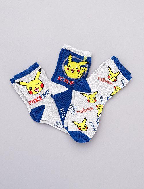 Lot de 3 paires de chaussettes 'Pokemon'                             gris/bleu/jaune