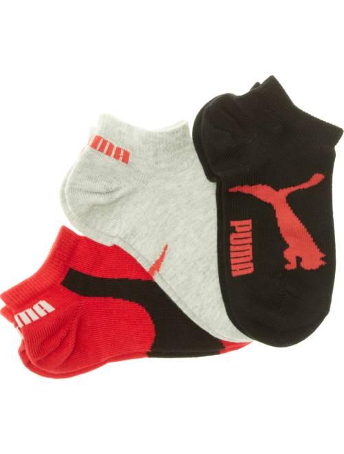 Lot de 3 paires de chaussettes 'Puma' tige courte                                                                 noir/gris/rouge Fille