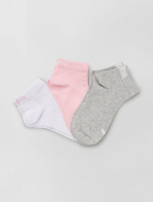 Lot de 3 paires de chaussettes 'Puma' tige courte                                                                                         rose/blanc/gris