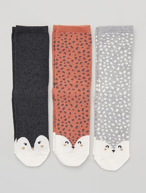 Lot de 3 paires de chaussettes 'renard'                                                                                         gris renard