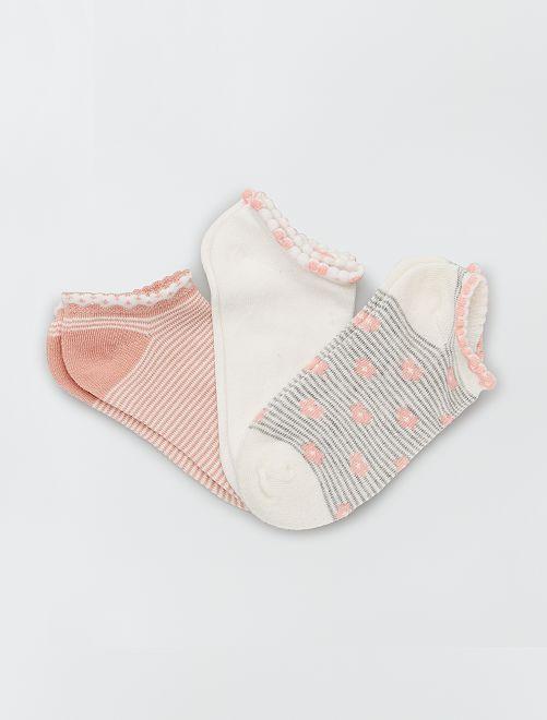 Lot de 3 paires de chaussettes                                         rose/blanc
