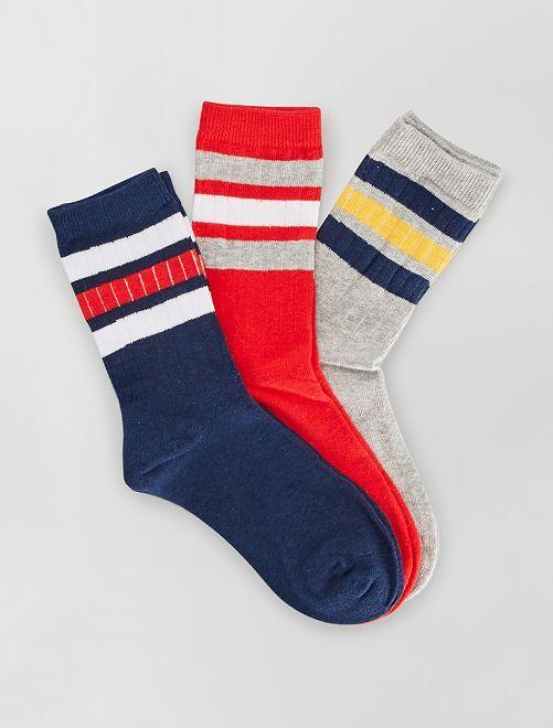 Lot de 3 paires de chaussettes                                         rouge/marine/gris