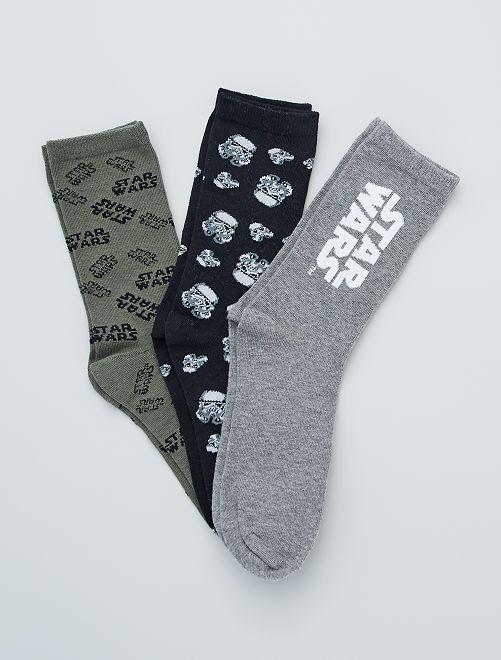 Lot de 3 paires de chaussettes 'Star Wars'                             noir/gris/kaki