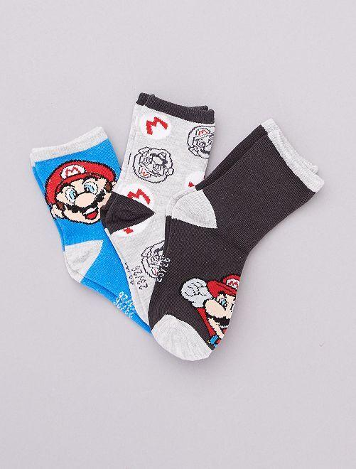 Lot de 3 paires de chaussettes 'Super Mario'                             bleu/noir/gris