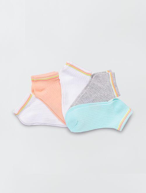 Lot de 3 paires de chaussettes unies                                         blanc/vert/rose/gris
